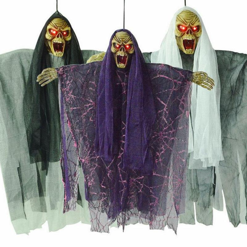 Halloween Horror Hanging Decoration Electric Skull Luminous Scary Party Creative Wall Hanging Ghost Decor