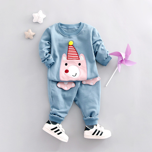 Novas Roupas de Crianças Meninas Ocasional Dos Desenhos Animados Camisolas + Calças de Algodão Do Bebê Meninos Roupas Definir Outono Coreano Roupa Das Crianças Trajes