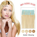 7a Virgin Remy Tape In Adhesive Human Hair Extensions 20pieces Platinum Hand Tied Invisible Skin Weft Hair Extension Blonde