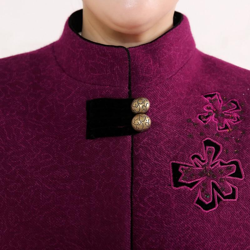 Plus Hiver 1 Chaud Cardigan 3 Printemps 2 La Survêtement Femme Col Taille Cachemire Automne Manteau Pleine Mandarin Broderie Solide PROa6E