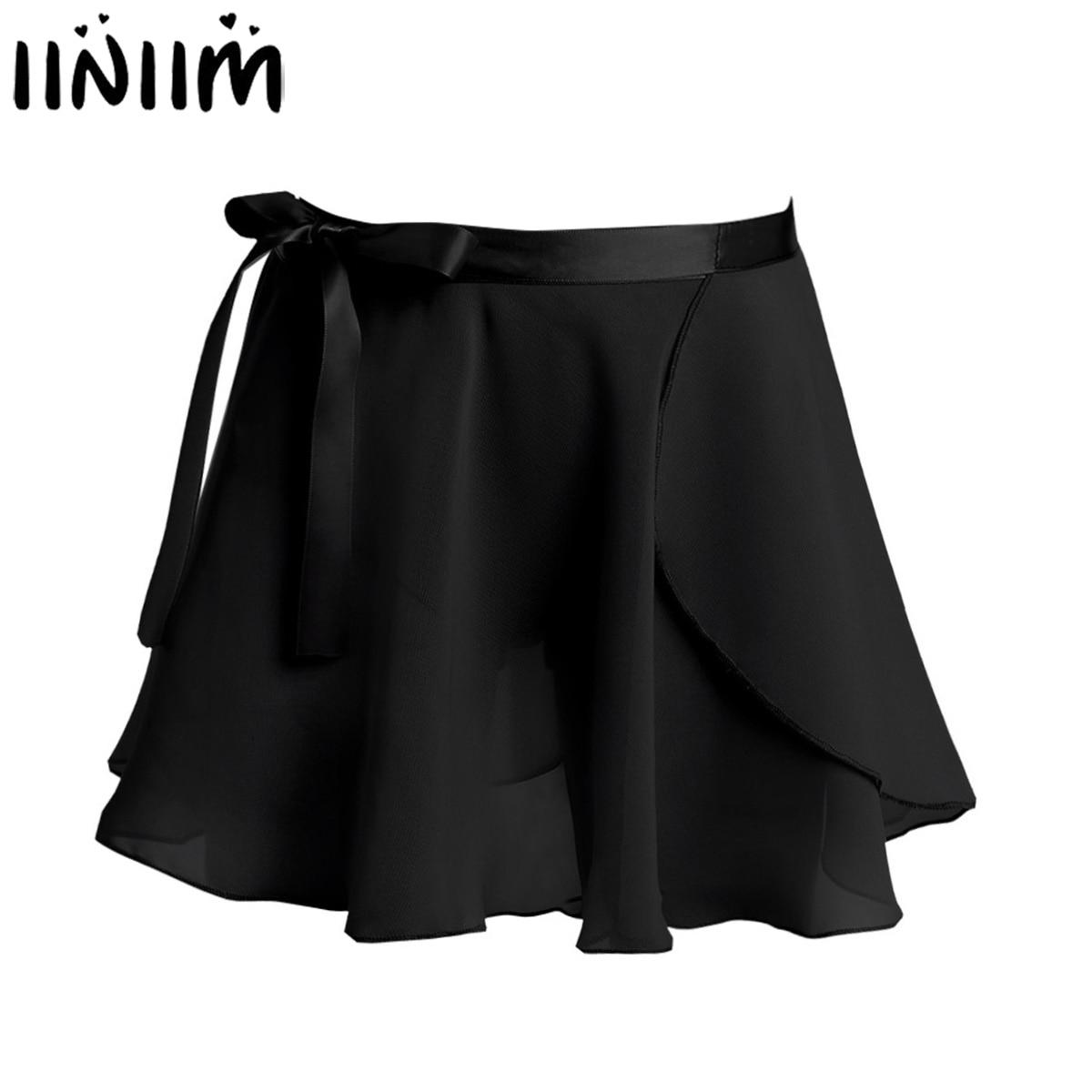 Kids Girls Gymnastics Leotard Dance Skirt Basic Chiffon Mini Pull-On Wrap Skirt Waist Tie Costumes For Performance Dance Wear