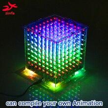 Zirrfa عالية الجودة 3D البسيطة ضوء cubeed diy كيت/مجموعة وحدات الإنتاج 8x8x8 هدية التعلم كيت led diy الإلكترونية