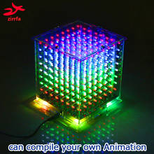 Zirrfa yüksek kaliteli 3D mini ışık cubeed diy kiti/set üretim modülleri 8x8x8 hediye öğrenme kiti diy elektronik