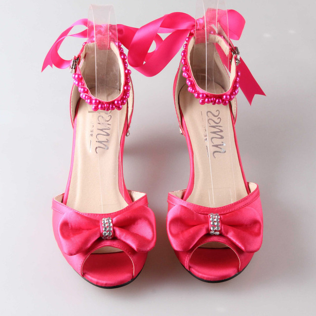 Fashion hot pink med low heel sandals D'orsay crystal heels ...