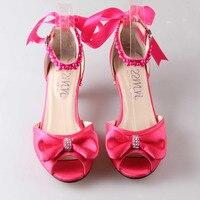 Thời trang hot hồng med dép gót thấp D' Orsay pha lê gót wedding party prom giày cô dâu ribbon tie và ngọc trai mắt cá chân dây đeo
