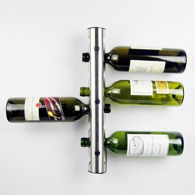 Stainless Steel Metal Wine Rack Holder 8 Optional Home Bar Wall Vertical Bottle Stand Unique