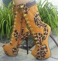 2017 Novas Mulheres Sexy 16 cm sapatos de Salto Alto Estampa de Leopardo Martin botas Anke Botas Dedo Do Pé Redondo Lace-up Sapatos de Plataforma Inverno Botines Mujer