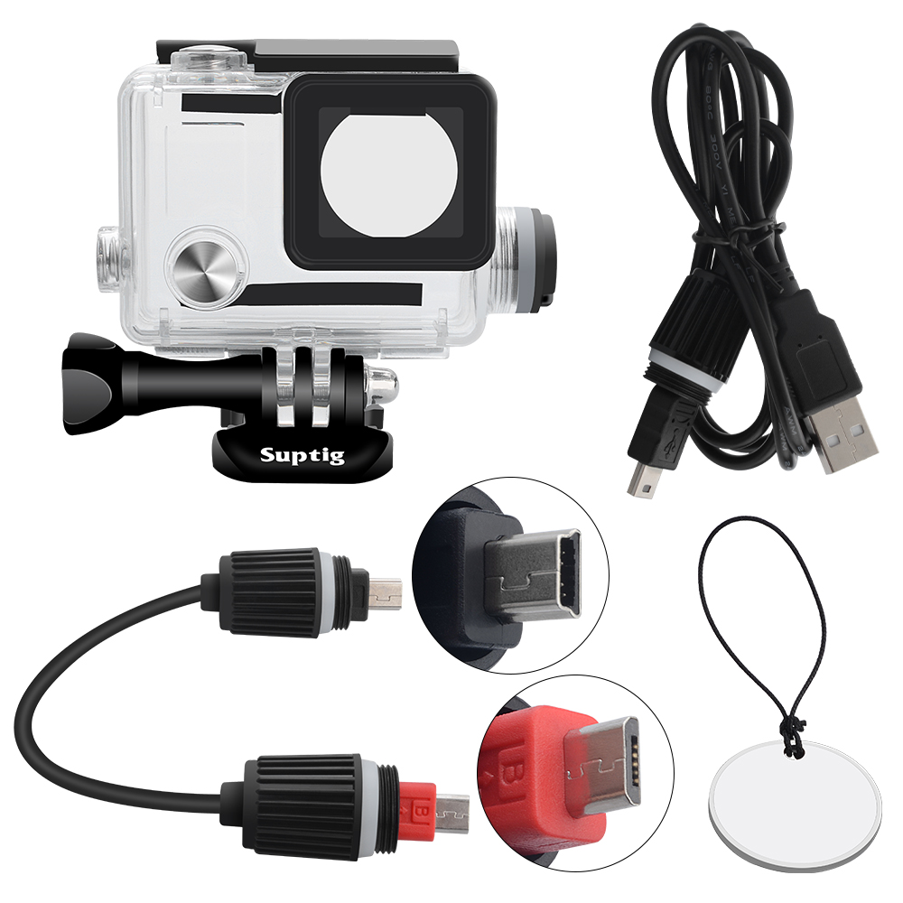 For GoPro Housing Rechargeable waterproof housing for GoPro Hero 4 Hero 3+ 3 Outside Sport Camera For Underwater Charger цена