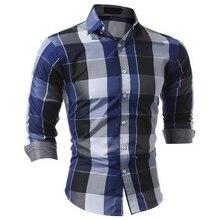 Клетчатую Рубашку Мужчины 2017 Новый Осень Мужские Рубашки бизнес Сорочка Homme Вскользь Уменьшают Подходящие Мужчины Полоса Рубашка Camisa Masculina