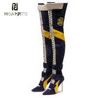 Prova Perfetto winter new runway style over knee boots suede patchwork cross tied thigh high boots sexy pointed toe high heels