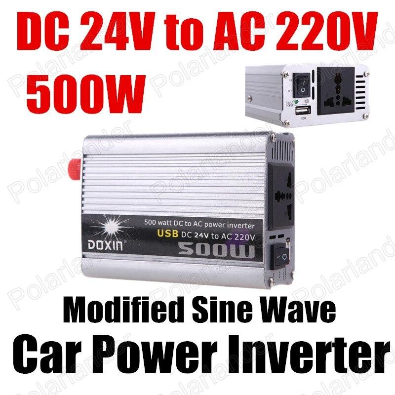 24 V DC do AC 220 V zmodyfikowana fala sinusoidalna samochodu transformator napięcia Auto moc silnika przetwornica falownika 500 W USB ładowarka sieciowa