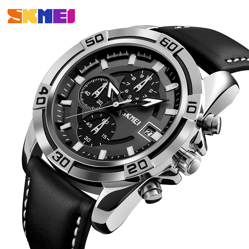 SKMEI Fashion Watch Men Leather Top Luxury Military Quartz Wristwatches Waterproof Outdoor