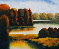 New Year Gift Modern Decorative Art Oil Paint Painting Landscape Wall Painting on Canvas Golden Pond Home Decor Art Hand Painted