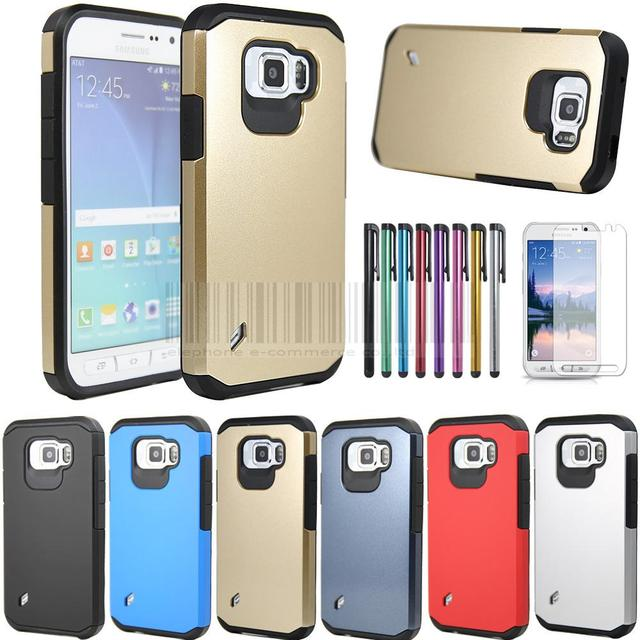 hot sale online 3a9e7 7cbfc US $3.41 5% OFF|Slim Hybrid Shockproof Impact Armor Case Hard Cover For  Samsung Galaxy S6 Active G890 With Stylus+FILMS Screen Protector-in Fitted  ...