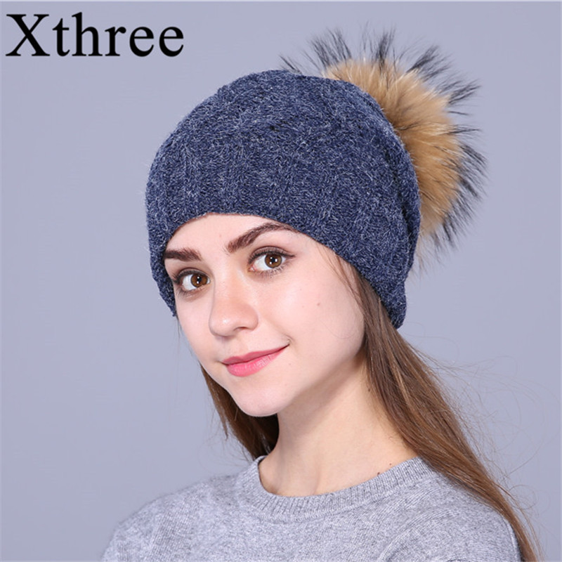 Xthree Real Raccoon Fur Pom Pom Hat Female Knitted Winter Hats For Girls Thick Gravity Falls Women's Cap Skullies Beanies 2017 1 6 years real fur winter hat raccoon pom pom hat for children baby thick boys hat girls pink caps knitted beanies cap