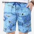 Zecmos Shorts For Men Blue Shorts Bodybuilding Shorts Teenage Sea Junk Character Print Pockets Travel Casual