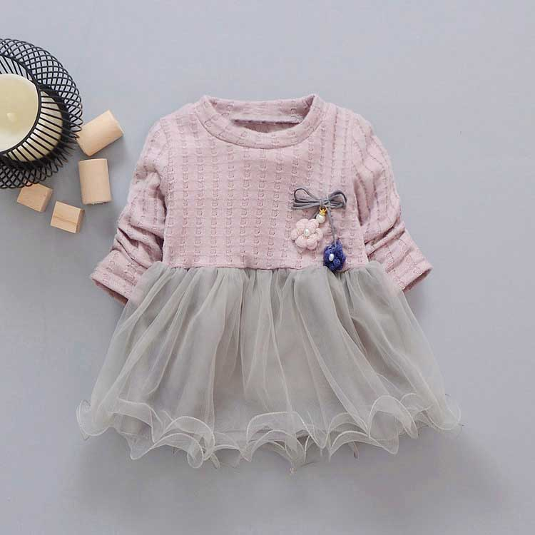 new spring Autumn Casual baby princess Long Sleeve Kids Sweet Knit top mesh patchwork infant Children girls Dress Y2059