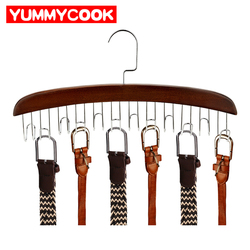 Cremalheiras de madeira com aço inoxidável cachecol ganchos gravata cinto pano cabide organizador pendurado guarda-roupa acessórios de armazenamento suprimentos