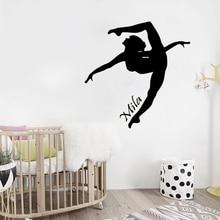 Girls Custom Name Personalized Bedroom Decoration Gymnast Home Decor Bueaty Fashion Decals W490