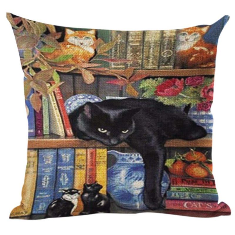 Pillow Case New Book Cat Party Cushion Customized Throw Home Decorative Cotton Linen Square Printing