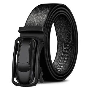 Image 2 - BISON DENIM Genuine Leather Male Belt Luxury Metal Automatic Buckle Strap Belts for Men Cowskin High Quality Fashion belt N71396