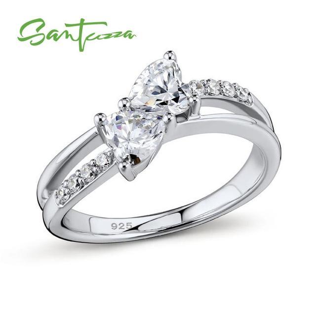 47fc82ff4df0 Anillos de plata para mujer anillo de compromiso blanco CZ anillos de plata  pura 925 joyería