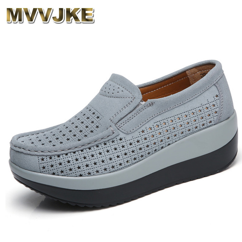 MVVJKE 2018 Autumn women flat platform loafers shoes ladies   suede     leather   footwear casual shoes slip on flats Moccasin creepers