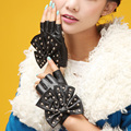 Low price Summer autumn Women genuine leather fingerless semi-finger driving punk rivert lovely bow knot gloves mittens
