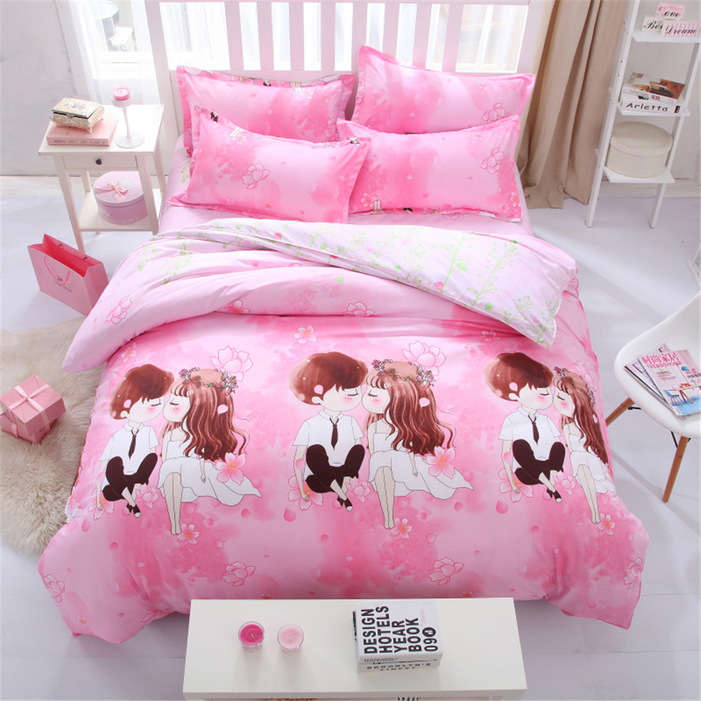 Bed sheets for wedding - Love Wedding Bedding Bed Sets Queen King Twin Kids 4 5 Pcs Pink Cartoon Quilt