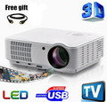Newest 2500 lumens Best Home Theater1280X800 Multimedia 1080P HD 3D Video HDMI USB LCD LED Projector Full HD projector