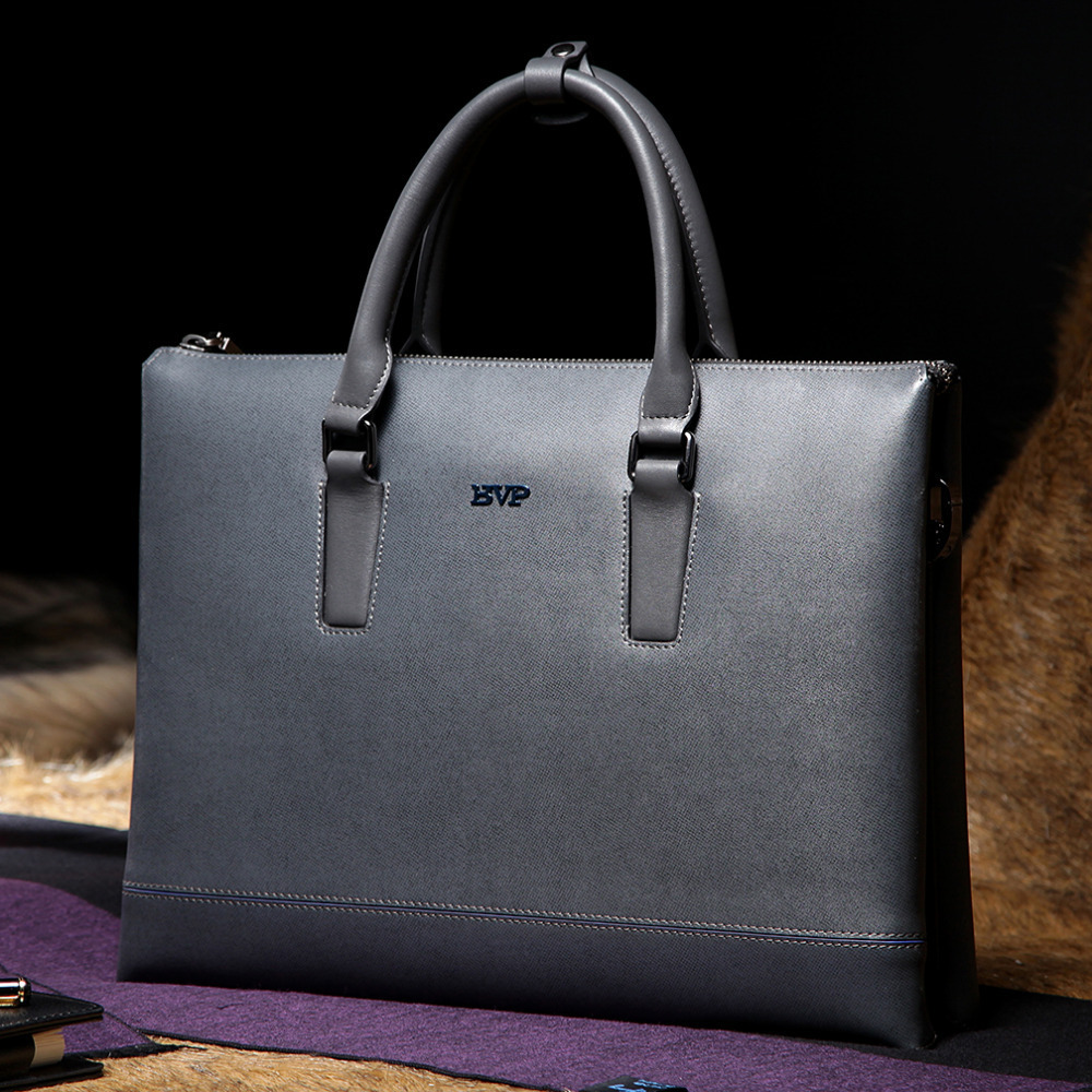 BVP - DHL Free Ship Mens Real Genuine Leather Business Briefcase Portfolio Tote Attache Document Bag Grey 13