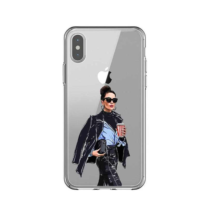 Funda transparente de silicona suave TPU para iPhone 5 5S SE 6 6s Plus 7 7Plus 8 8 Plus X XS X XR XS MAX Coque Fundas Capa