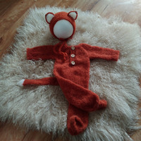 Angola mohair fox footed outfits photography props,handmade knit mohair romper for newborn photography props