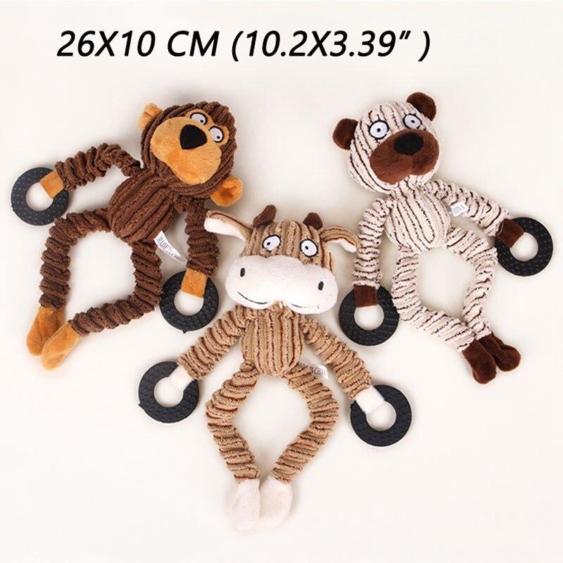 Toys For Dogs Plush Toy Soft Toy Little Monkey Jouet Chien Stuff Chew Toys Puppy Plush Plush Sound Sheep Monkey Cow Dumb Pet(China)