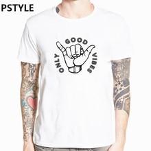 цена pstyle only good vibes letter t shirt harajuku print men t-shirt casual streewear tshirt short sleeve 0 neck funny t shirts tops онлайн в 2017 году