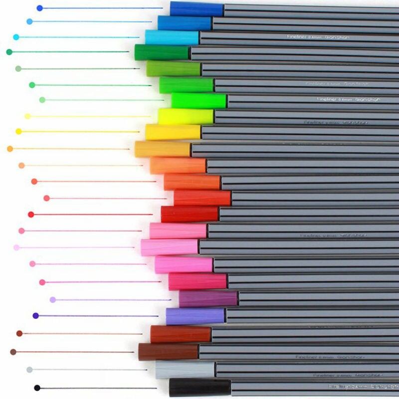 0,4mm 24 colores marca bolígrafo marcador de dibujo súper fino a base de agua surtido de tinta Material no tóxico aguja marcador de Color