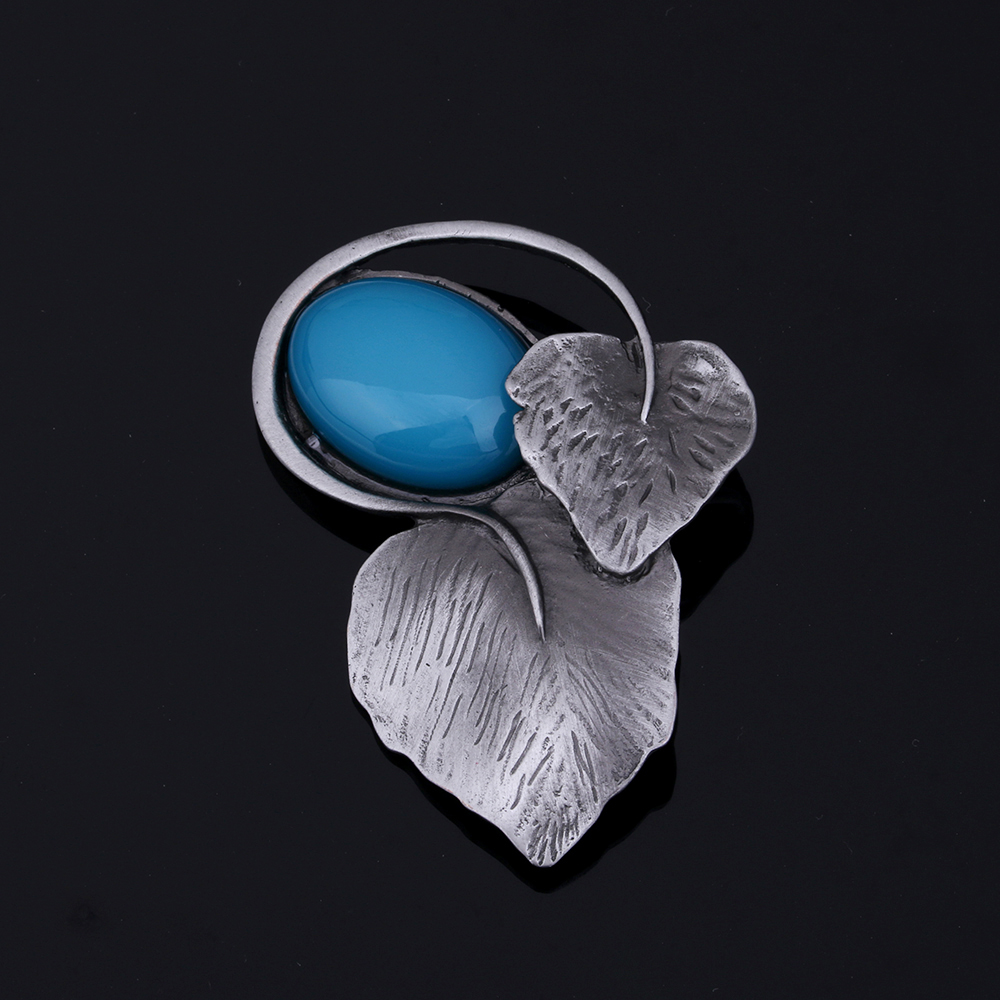 Ks Gadgets Natural Yellow Stone Safety Pin Brooch Antique Silver Color Metal Big Leaf Broches Jewelry Dress Accessories Brosche