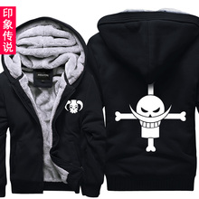 New Anime One Piece Sweatshirt Plus Size Luffy Velvet Male Thick Cardigan Outerwear Jacket COS Hooded Hoodie Tops Free Shipping