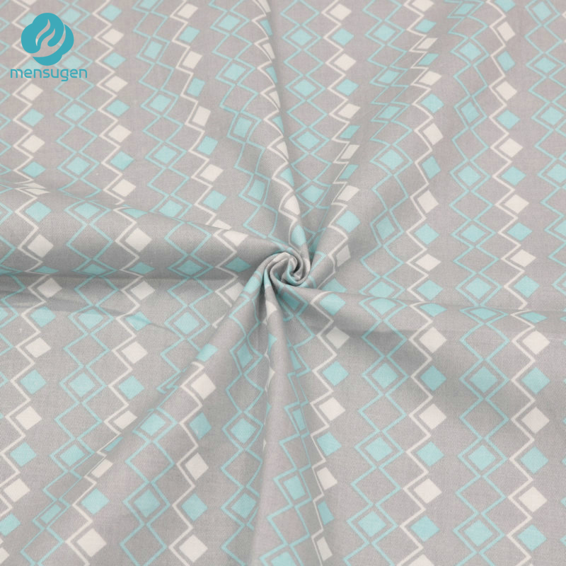 Mensugen 50cm*160cm Mint and White Square Cotton Fabric for Patchwork Pillows Men's Shirt Sewing Material Bed sheets Textile