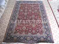 Trasporto libero 6'x9 '160 linea annodato a mano in lana e seta orientale tappeto persiano fatto a mano tappeto, multicolore filati