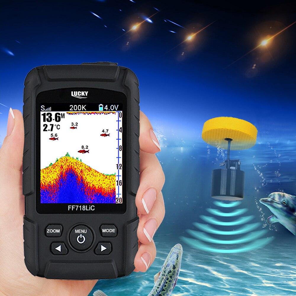 GLÜCK FF718LiCD-T Verdrahtete Fisch Finder 200 kHz 45 Grad Wired Echolot Russische Angeln Finder Wiederaufladbare Lithium- ionen Batterie