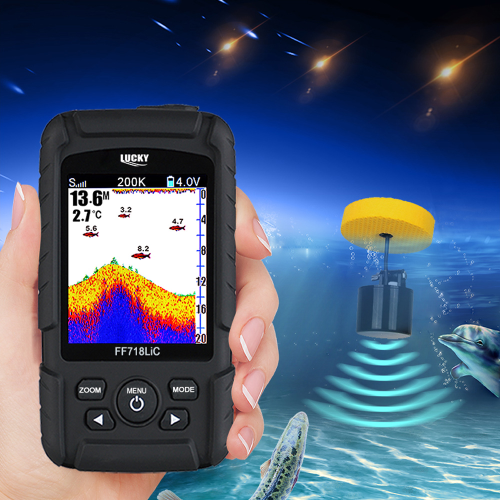 LUCKY FF718LiCD -T Wired Fish Finder 200kHz 45 Degree Wired Echo Sounder Russian Fishing Finder Rechargeable Lithium-Ion BatteryLUCKY FF718LiCD -T Wired Fish Finder 200kHz 45 Degree Wired Echo Sounder Russian Fishing Finder Rechargeable Lithium-Ion Battery