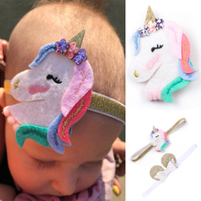 2019 New Unicorn Rainbow Hair Clips Barrettes Baby Girls Cartoon Headband Hairpins set Horn Party Accessories