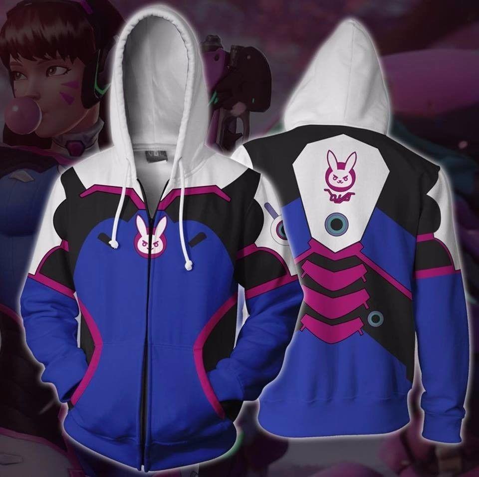sexy anime cosplay xxxxxl Game Overwatch D.Va Bunny Hoodie Zipper Jacket Coat Cosplay Costume Sweatshirt