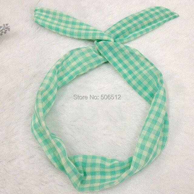 Fashion Fabric Checker Plaid Headbands Cute Bunny Ear Metal Wire DIY ...