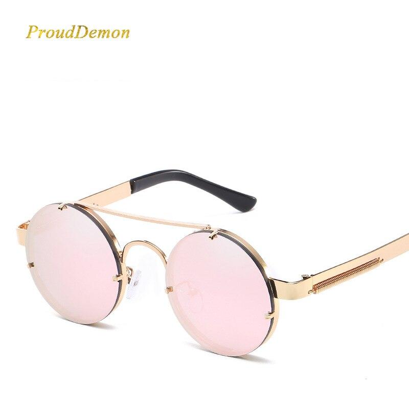 Prouddemon Nuovo Retro Rotondo Steampunk Occhiali Da Sole Donne di Lusso Popolari Molla di Metallo Occhiali Da Sole Per Uomo Big Lente A Specchio Oculos