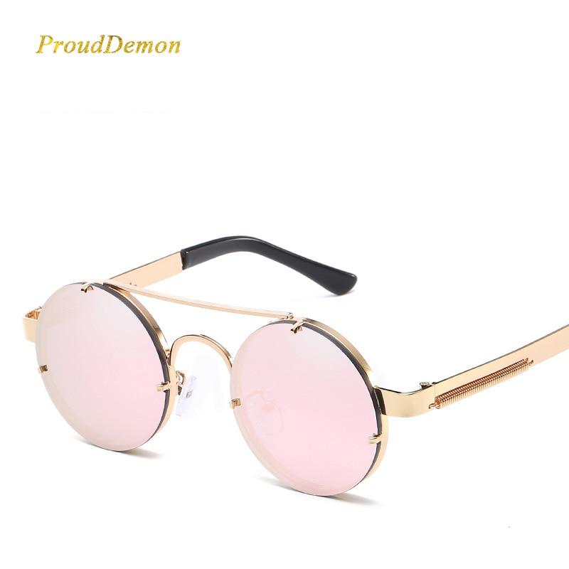 Prouddemon nuevo retro Steampunk Gafas de sol mujer de lujo populares resorte de metal Sol Gafas para hombres espejo lente oculos