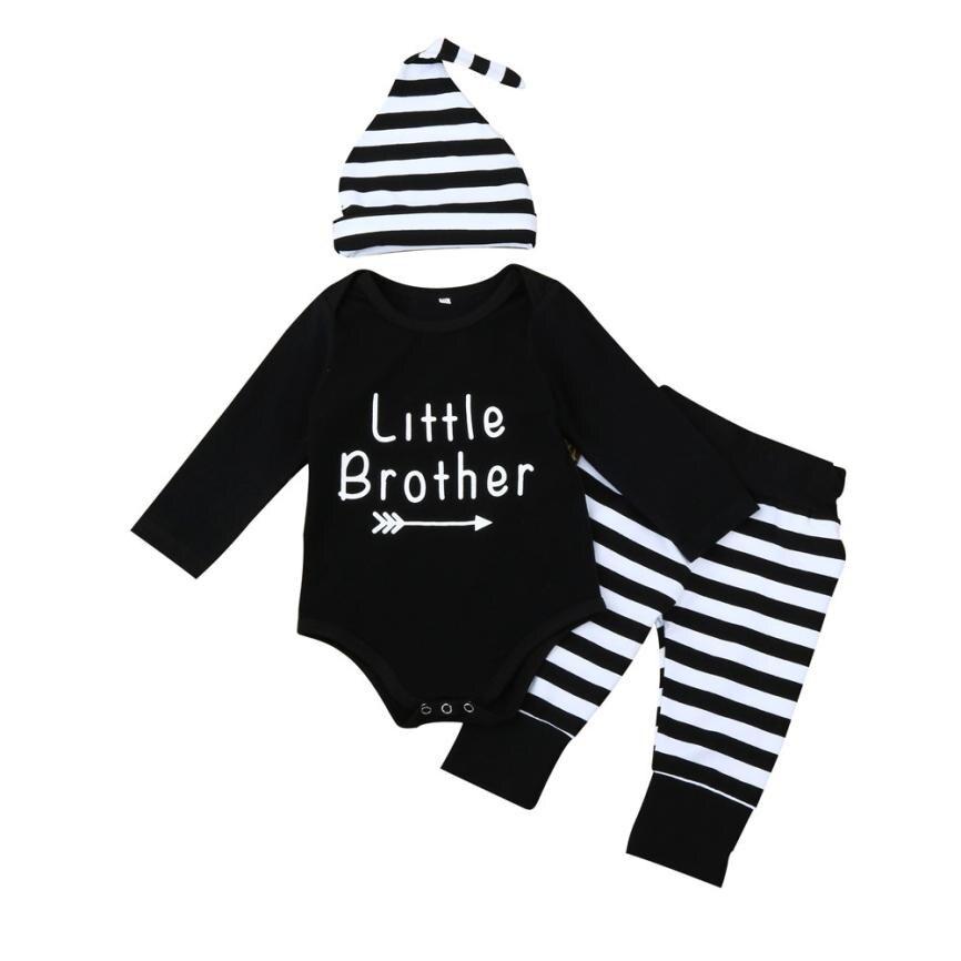 3Pcs/Set Baby Boy Clothes Sets Autumn Winter Baby Clothing infantil Letter Romper Tops+Stripe Pants+Hat Outfit L1129