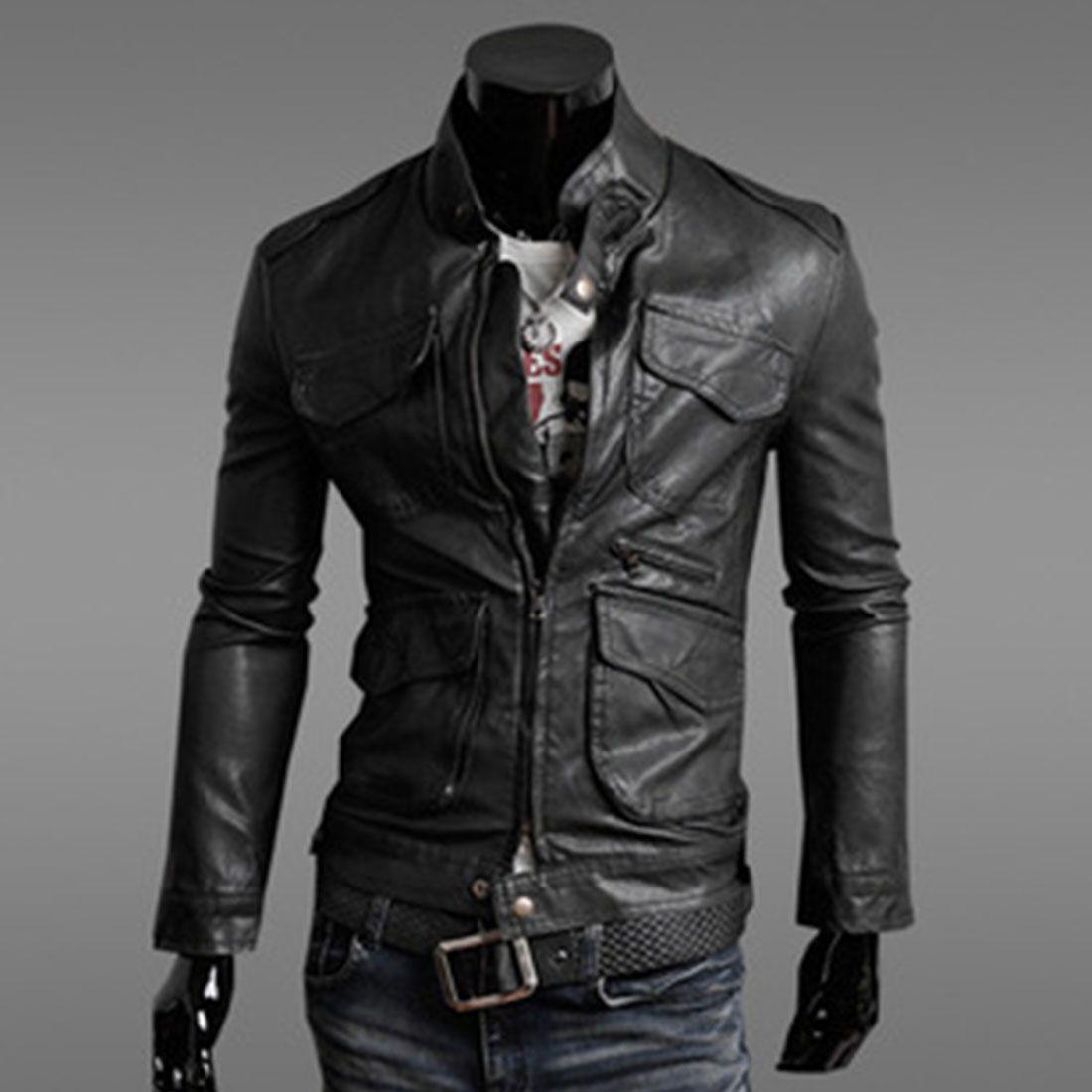 Fashion Men Jacket Motorcycle Leather Jackets Slim Leather Jacket