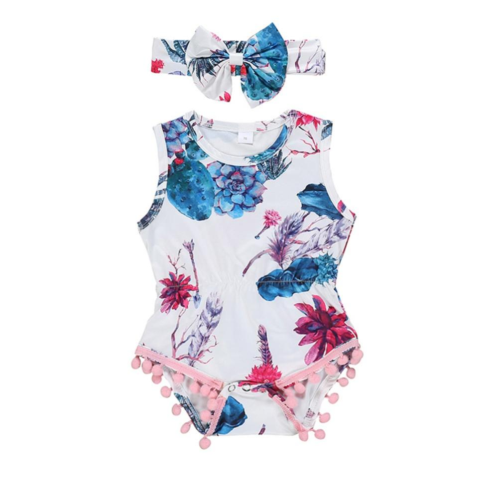 Summer Newborn Baby Girls Floral Rompers Headband Set Sleeveless With Tassel Design Jumpsuit 3-24M(China)